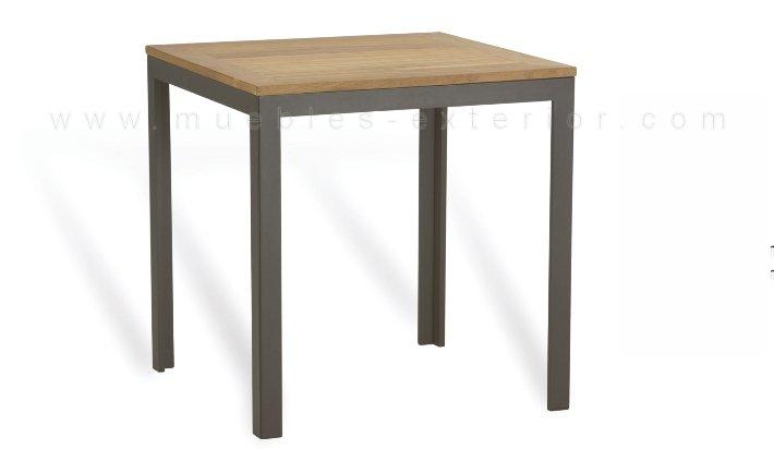 Mesa de aluminio sobre de teca 80x80 ref 367 - Mesas para exterior de madera ...