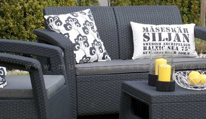 Set corfu lounge antracita para hosteleria y exterior for Comprar muebles de jardin baratos
